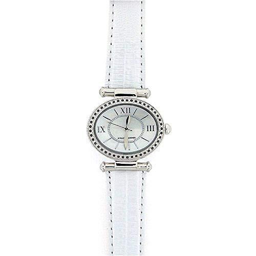 GOTW GOTW99 - Orologio da polso, cinturino in pelle colore bianco