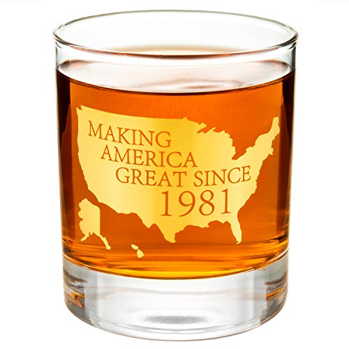 """Crisky 40th Birthday Whiskey Glass for Men Funny 40th Birthday Gift Idea for Him, Husband, Father, Brother Friends Party Favors, Decorations Gold Foil""""Making XX Great Since 1981"""" 11 oz, with Box"""