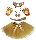 Petitebelle Diadema Bowtie Guantes de cola Tutu niña Disfraz de 5 piezas Un tamaño Brown de Navidad del reno