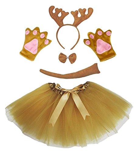 Petitebelle Headband Bowtie Tail Gloves Tutu 5pc Girl Costume 1-5y (Brown Xmas Reindeer)