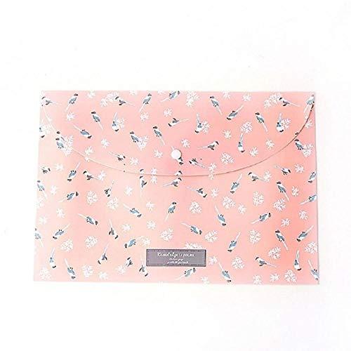Heng Duurzame map met grote capaciteit Snap Floral-bestandstas Papier A4 School Stationery Kantoorbenodigdheden Archiefproducten, roze