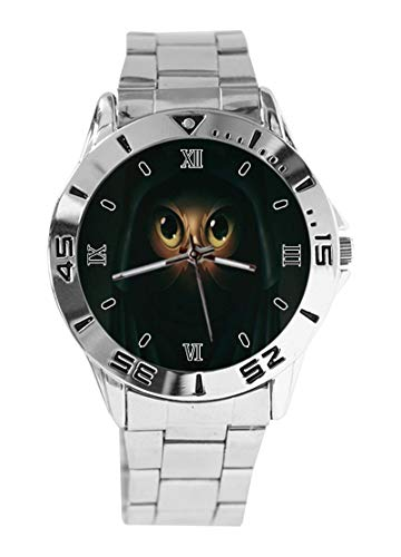 Ninja Cat Watch – Orologio analogico da polso unisex in acciaio inox – argento