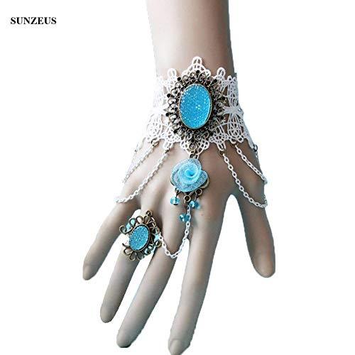 GBSTA Huwelijke Handschoenen Mooie Kant Bruid Handschoenen Met Ijs Blauwe Kralen Bloem Bruiloft Handschoenen Ring Armband Accessoires Kleur: wit