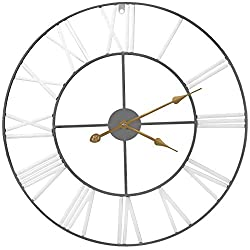 Sorbus Wall Clock, 24 Round Oversized Centurian Roman Numeral Style Home Décor Analog Metal Clock (White/Gray)