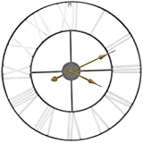 Sorbus Wall Clock, 24' Round Oversized Centurian Roman Numeral Style Home Décor Analog Metal Clock (White/Gray)