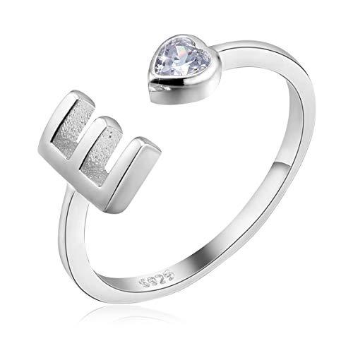 PEARLOVE Anello da donna e ragazza, in argento Sterling 925, regolabile, per iniziali da donna, impilabili, dalla A alla Z.,