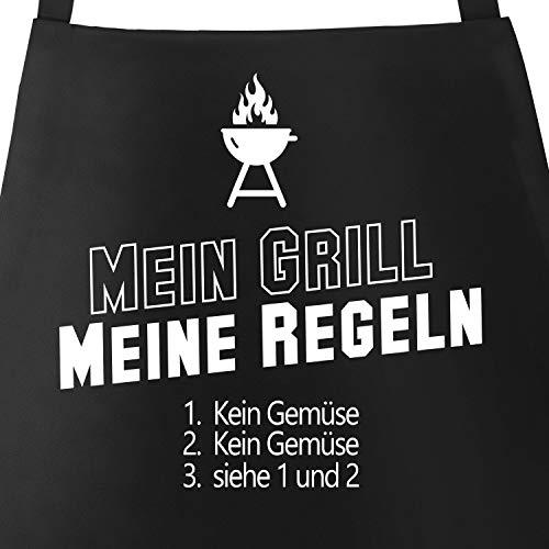 MoonWorks Grill-Schürze Grillschürze mit Spruch Mein Grill Meine Regeln kein Gemüse schwarz Unisize