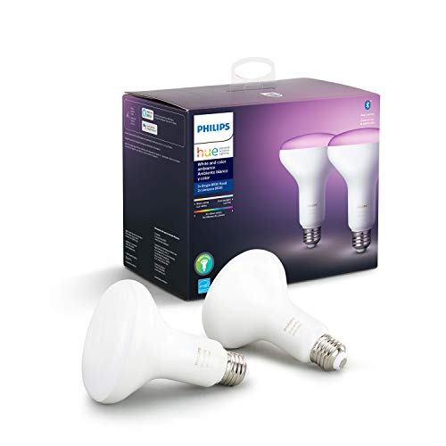 Philips Hue White and Color Ambiance 2-Pack BR30 LED Smart Bulb, Bluetooth & Zigbee Compatible (Hue Hub Optional), Works with Alexa & Google Assistant