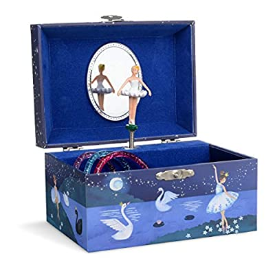 Jewelkeeper Girl's Musical Jewelry Storage Box with Spinning Ballerina, Glitter Design, Swan Lake Tune