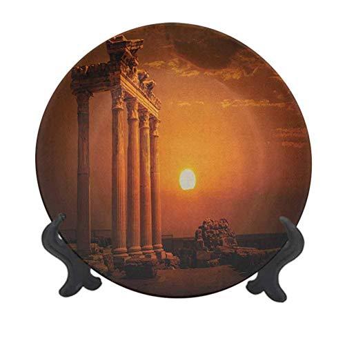 Plato decorativo de cerámica para colgar de 15,24 cm, estilo antiguo de Roma, monumentos, columnas con imagen del sol, plato decorativo de cerámica para mesa de comedor, catering