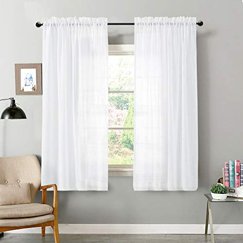 Vangao Linen Textrued Sheer Curtains for Living Room 63 Inches Length Semi Sheer for Bedroom Light Filtering Voile Rod Pocket Drapes,1 Pair,White