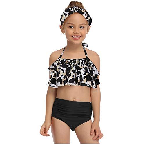 Traje de baño para padres e hijos, estampado de leopardo, cintura alta, bikini de dos piezas