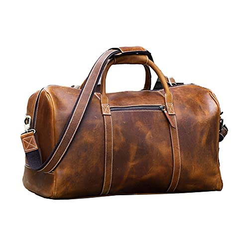 KomalC Leather Duffel Bags for Men and Women Full Grain Leather Travel Overnight Weekend Leather Bags Sports Gym Duffel for Men (20 Inch)