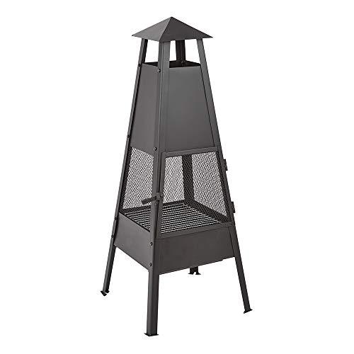 Trueshopping Outdoor Metal Chimenea Fire Pit Chimney - Log, Wood & Charcoal Burner - Sleek Black Modern Garden Patio Heater - Safety Grill & Poker Included - Height 100cm