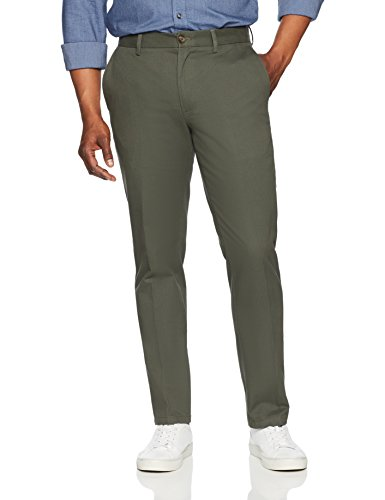 Amazon Essentials Men's Slim-Fit Wrinkle-Resistant Flat-Front Chino Pant, Olive, 34W x 30L