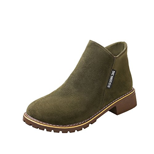 Suede Knee High Boots For Women Liraly Ladies Martin Boots Winter Thick With Shoes (Army Green ,US-6 /CN-37)