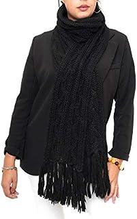 Fantasie Terrene Sciarpa donna a trecce, fatta a maglia con filato Misto Alpaca di Alta qualità, con peneri alle estremità...