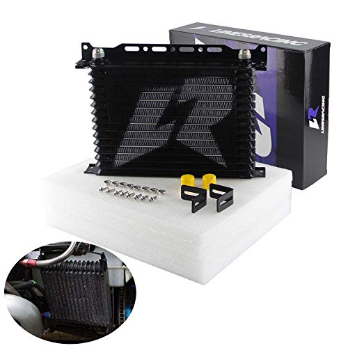Aluminum AN10 Trust Engine Oil cooler + Mounting Bracket Kit (15Row, Black)