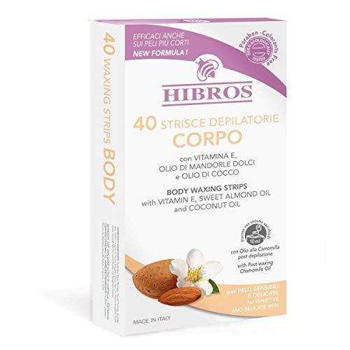HIBROS 40 Strisce Depilatorie Corpo per Pelli Sensibili e Delicate