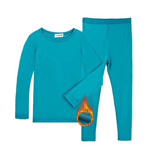 GAZIAR Thermal Underwear for Girls Long Underwear Ultra Soft Fleece Lined Thermals Kids Base Layer Lace Round Neck Long John Set Green M(9-10Y)
