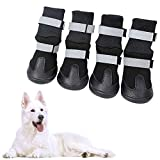 KOESON Waterproof Dog Boots Winter Pet Shoes, Outdoor Pet Snow Booties with Reflective Straps, Cold Weather Paw Protector with Anti-Slip Sole for Medium Large Dogs 4 Pcs Black Medium