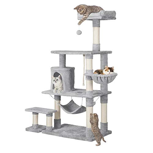 Yaheetech 62in Extra Large Cat Tree Condo with Sisal-Covered Scratching Post Plush Perch Hammock,...