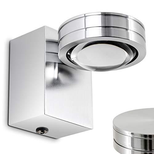 LED Wandlampe Florenz, Wandleuchte aus Metall u. Glas in Aluminium gebürstet, Wandspot 1-flammig mit Ein-/Ausschalter, 1 x 5 Watt, 400 Lumen, 3000 Kelvin, IP44 für Badezimmer geeignet