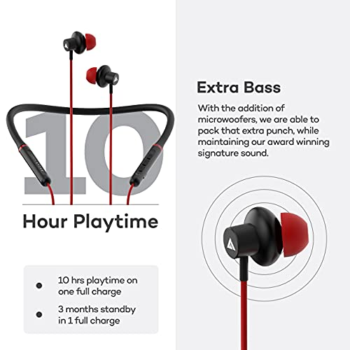 Boult Audio ProBass X1-Air Wireless in Ear Neckband Earphone with Mic (Red)