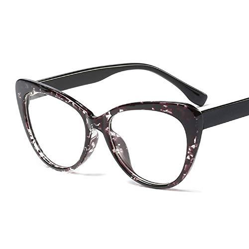 Burenqi@ Trendy Cat Eye-Brilmontuur Voor Damesmode Dames Transparante Platte Spiegel Rond Gezicht Oversized Monturen Bril Damesbrillen
