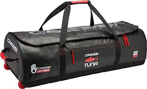 Cressi Tuna Bag 120 Lt, Borsone Impermeabile di Grandi Dimensioni, Disponibile in Versione Senza Ruote Unisex Adulto, Nero/Rosso