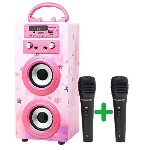DYNASONIC (3. Generation) | Tragbarer Karaoke-Bluetooth-Lautsprecher mit Mikrofonen | USB-Anschluss und SD-Kartensteckplatz, UKW-Radio Modell 025, (rosa Hochglanz)