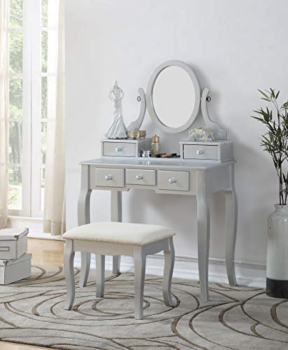Roundhill Furniture Ashley Silver Wood Makeup Vanity Table and Stool Set, Sliver