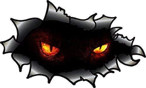 Oval Gerissenes Offen Zerrissen Carbon Faser Effekt Design mit Evil Dämonische Horror Augen Motiv Auto Aufkleber 150x90mm