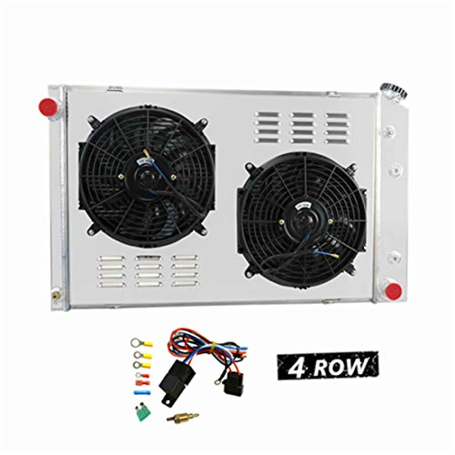 "Primecooling 4 Row All Aluminum Radiator +2X12"" Fans and Shroud for GMC Chevy C/K Series Pickup Truck/Jimmy V8 Enigne 1973-91"