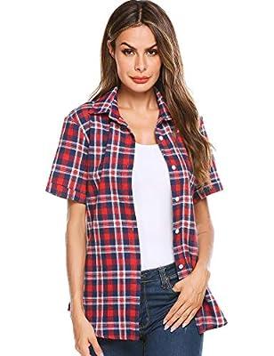 SUNAELIA Women Flannels Tartan Plaid Shirts Roll Up Long/Short Sleeve Casual Button Down Cotton Check Gingham Top S-4XL