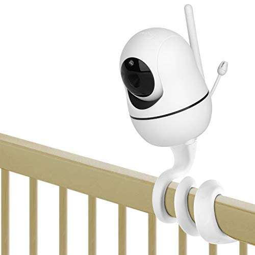iTODOS Baby Monitor Mount for HelloBaby HB65/HB66/HB248,ANMEATE SM935E Baby Monitor Camera, Versatile Twist Mount Without Tools or Wall Damage -White