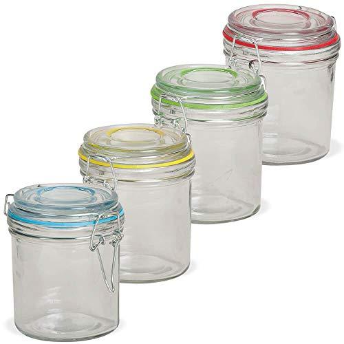 matches21 HOME & HOBBY opbergpotten glazen met riemsluiting metalen & gekleurde ringen kruidpotten elke 250 ml set van 4 soort Ø 8x10 cm