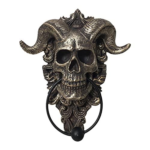 bozitian Horned Skull Door Knocker, Türklopfer Antik Gold Türklopfer mit Totenkopf-Motiv, Horned-God Skull Hängende Türklopfer Hochleistungs Gothic Türklopfer Wanddekoration
