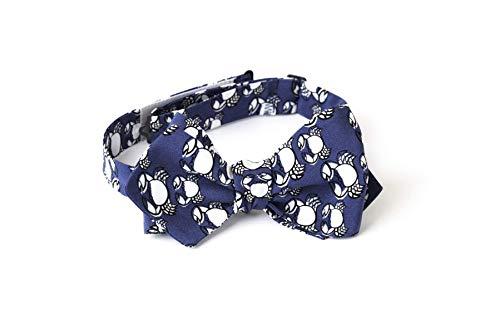 Querbinder aus Seide zum Binden, Dunkel Navy Blau mit Tierdruck in Weiss, Grösse verstellbar und Hakenverschluss