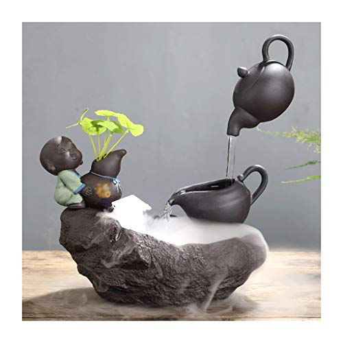 Fuentes de Interior Fuente Buda Cubierta Zen Fuente de Agua de Mesa con atomizador de cerámica Fuente Decorativa Creativa de la decoración del hogar Regalo Feng Shui Fuente Hogar (Color : B)