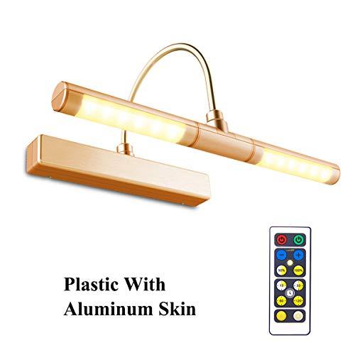 HONWELL-Luz LED Inalámbrica a Batería con Control Remoto, Cabezal de Luz Giratorio de 13 Pulgadas con 3 Modos de Iluminación,Regulable Marco Luces Lámpara de Pared para Pintar,Espejo,Color Rosa Dorado