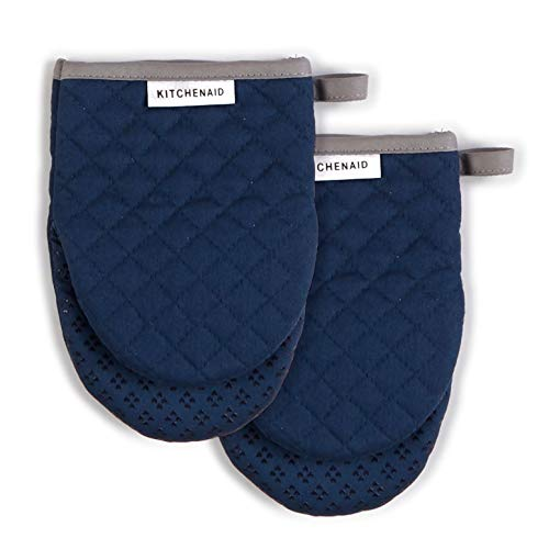 KitchenAid Asteroid Mini Cotton Oven Mitts with Silicone Grip, Set of 2, Blue Willow 2 Count