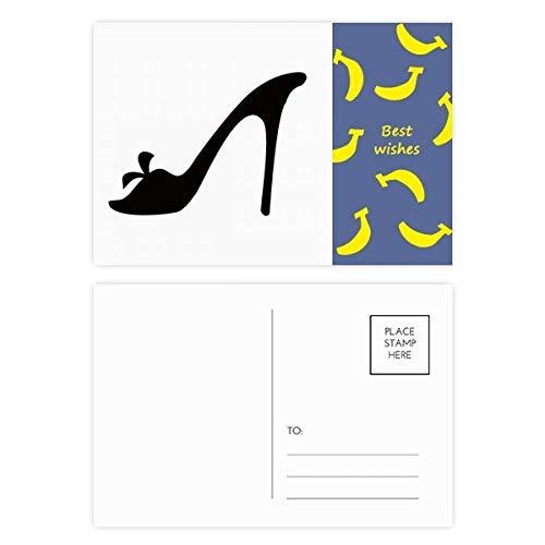 Zwart Hoge Hakken Bloem Silhouette Patroon Banaan Postkaart Set Thanks Card Mailing Zijde 20 stks