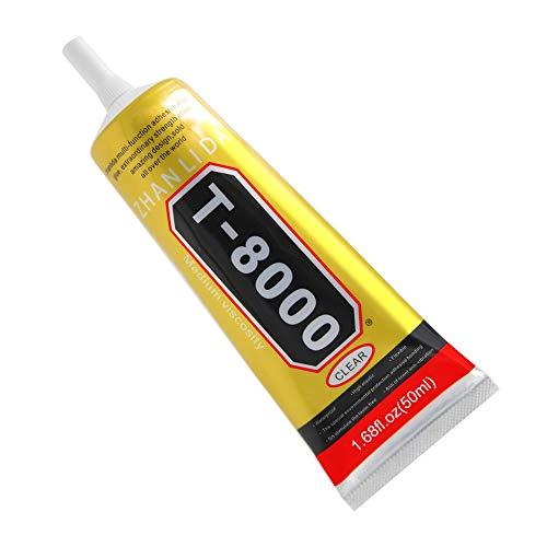 MMOBIEL T-8000 Mehrzweck Flüssig Kleber High Performance Industrie Klebstoff transparent inkl. Präzisionstipp für sauberes Arbeiten (50ML / 1,68 oz)