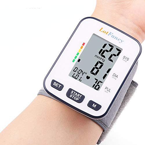 Price comparison product image Wrist Blood Pressure Monitor Cuff by LotFancy,  120 Reading Memory,  2 Users,  BP Wrist Cuff (5.3- 8.5),  Digital Blood Pressure Monitor with Large LCD Display,  FDA Approved,  Portable Case Included
