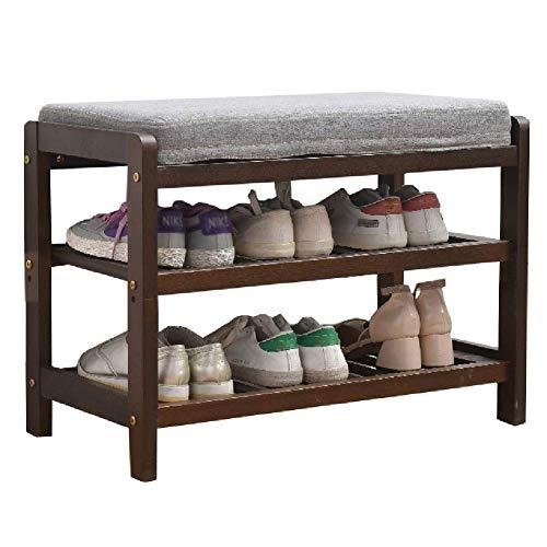 JIADUOBAO Asiento de banco de 3 niveles para cambiar de zapatos, pasillo entrada de madera, estante organizador de almacenamiento con cojín (tamaño: 65 x 33,5 x 48 cm)