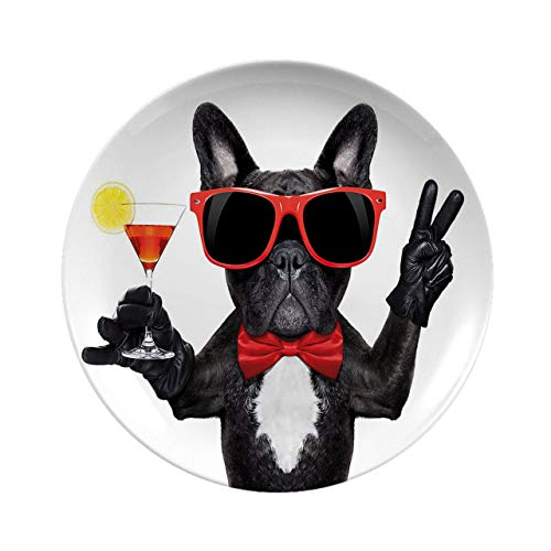 Creative Round Dinner Plates,Funny French Bulldog Holding Martini Cocktail Ready For The Party Nightlife Joy Black Red White,dinner Plates For Everyday Use, Break-resistant And Lightweight,6 Inch