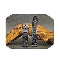 ハンドステッチ本革時計ストラップ刻まれたエンボス時計バンドベルトステンレス鋼ブラックバックル20 mm 22 mm 24 mm、4、20 mm
