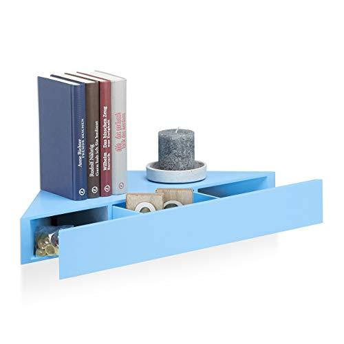 Relaxdays Hoekwandrek, driehoekige plank, lade, onzichtbare bevestiging, decoratief, MDF, HBT: 8x60x30cm, blauw