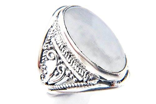 Ring Silber 925 Sterlingsilber Regenbogen Mondstein weiß Stein (Nr: MRI 83), Ringgröße:54